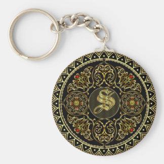 Monogram S Basic Round Button Key Ring