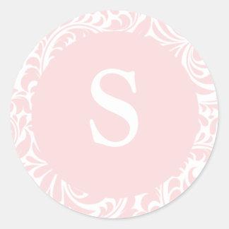 Monogram S Blush Color Invitation Seals For Weddin Round Sticker