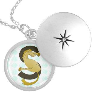 Monogram S Flexible Horse Personalised Round Locket Necklace