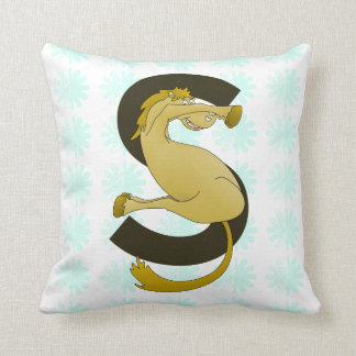 Monogram S Funny Pony Customized Throw Pillow