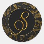 Monogram S Gold and Black Damask Wedding Seal Classic Round Sticker
