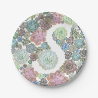 Monogram S Initial succulents paper plate 7 Inch Paper Plate