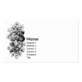 Monogram S with Palmetto Leaves Business Card Template