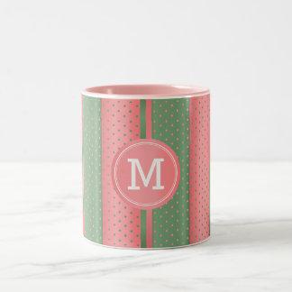 Monogram Sage Green and Coral Polka Dots Two-Tone Coffee Mug