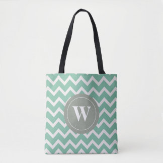 Monogram sage green chevron motif tote bag