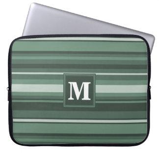 Monogram sage green stripes laptop computer sleeve