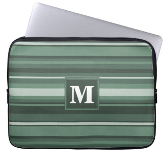 Monogram sage green stripes laptop sleeve