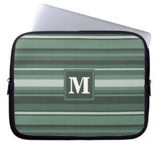 Monogram sage green stripes laptop sleeves