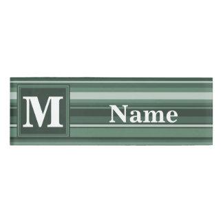 Monogram sage green stripes name tag