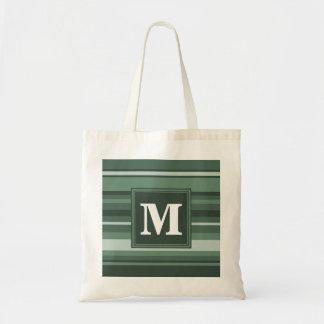 Monogram sage green stripes tote bag