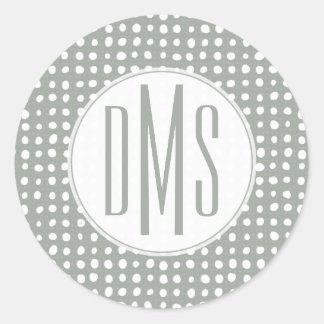 Monogram   Sage Polka Dots Classic Round Sticker