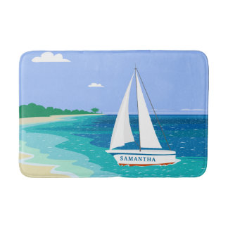 Monogram Sailboat Coastal Tropical Beach Bath Mat