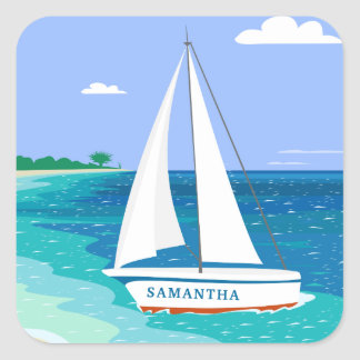 Monogram Sailboat Coastal Tropical Beach Stickers