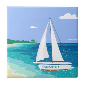 Monogram Sailboat Coastal Tropical Ceramic Tile