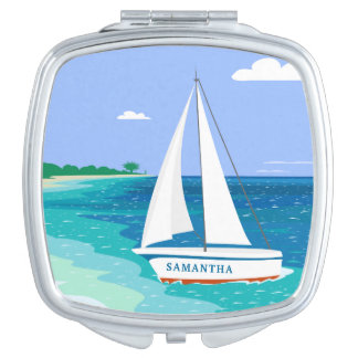 Monogram Sailboat Coastal Tropical Compact Mirror