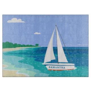 Monogram Sailboat Coastal Tropical Cutting Board