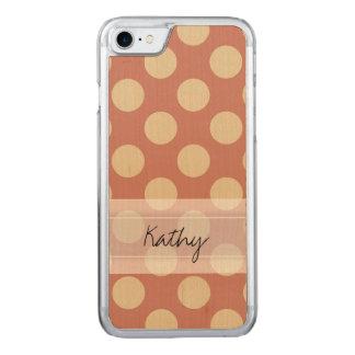 Monogram Salmon Pink Beige Chic Polka Dot Pattern Carved iPhone 8/7 Case