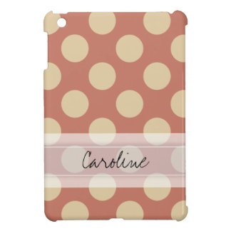 Monogram Salmon Pink Beige Chic Polka Dot Pattern iPad Mini Covers