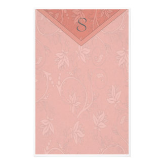 Monogram Salmon Pink Floral Customised Stationery