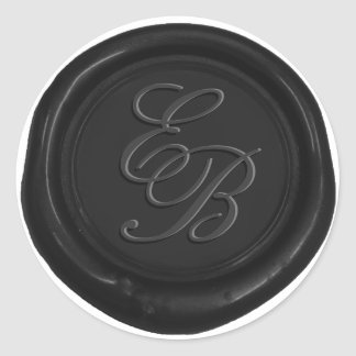 Monogram Script Black Wax Seal Wedding Favor Round Sticker