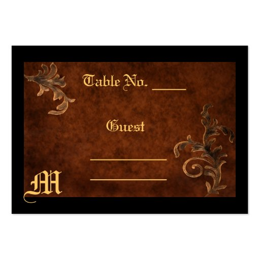 Monogram Scroll Leaf Table Setting PlaceCard Business Card Templates
