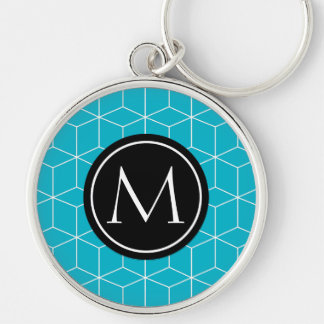 Monogram Scuba Blue Silver-Colored Round Key Ring