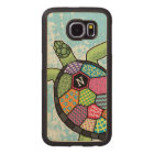 Monogram Sea Turtle Colourful Patchwork Pattern Wood Phone Case