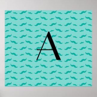 Monogram seafoam green mustache pattern poster