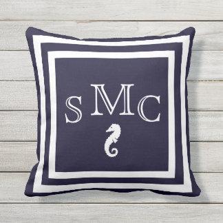 MONOGRAM seahorse dark blue outdoor nautical Outdoor Cushion