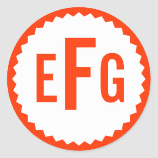 Monogram Seal Zigzag Border, Tomato Red Round Sticker