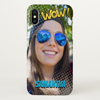 Monogram. Selfie. Cool Halftone Comic Book. iPhone X Case