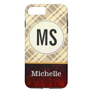 Monogram sepia Flannel / rustic iPhone 8 Plus/7 Plus Case
