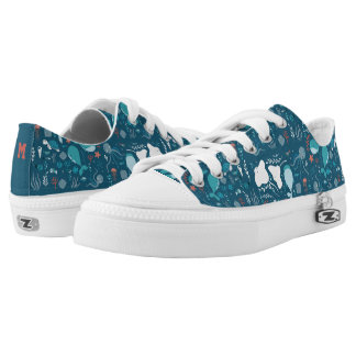 Monogram Series: Cute Whales and Sea Life. Low Tops