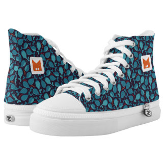 Monogram Series: Kawaii Cute Blue Whales. High Tops