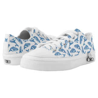 Monogram Series: Kawaii Cute Blue Whales. Low Tops