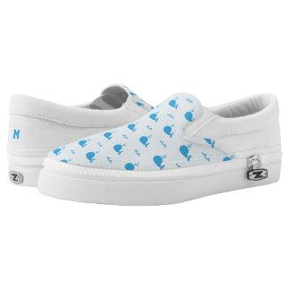 Monogram Series: Kawaii Cute Blue Whales. Slip On Shoes