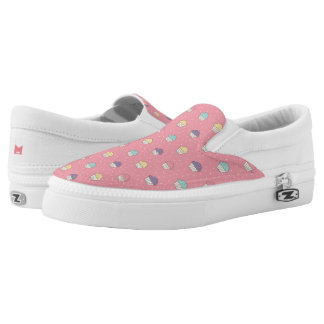 Monogram Series: Kawaii Cute Frosted Cupcakes. Slip-On Shoes