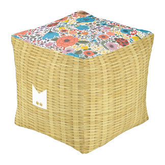 Monogram Series: Natural Seagrass Weave Texture Pouf
