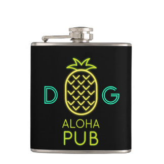 Monogram Series: Pineapple. Aloha Club. Neon Light Hip Flask