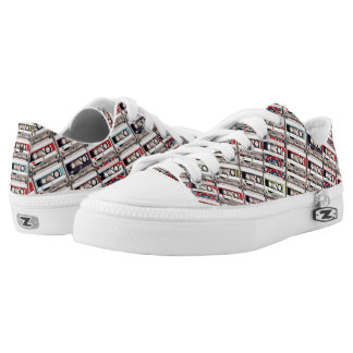 Monogram Series: Retro Cassette Tapes Pattern. Low Tops