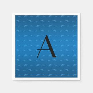 Monogram shiny blue mustache pattern disposable napkins