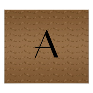 Monogram shiny brown mustache pattern poster