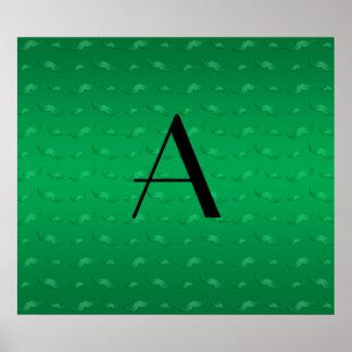 Monogram shiny green mustache pattern poster