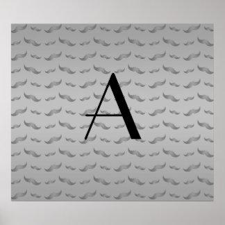 Monogram shiny grey mustache pattern poster