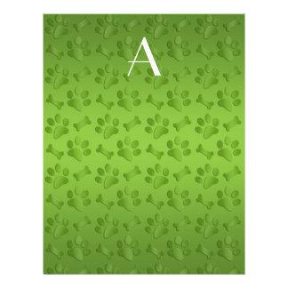 Monogram shiny light green dog paw prints flyer