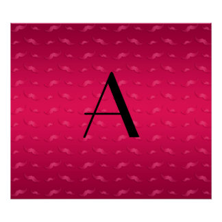 Monogram shiny magenta pink mustache pattern poster