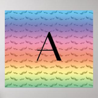 Monogram shiny pastel rainbow mustache pattern poster