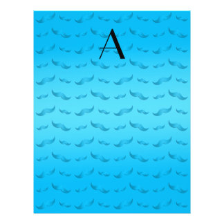Monogram shiny sky blue mustache pattern 21.5 cm x 28 cm flyer