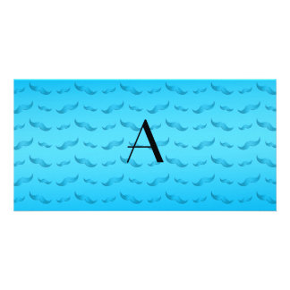 Monogram shiny sky blue mustache pattern personalised photo card