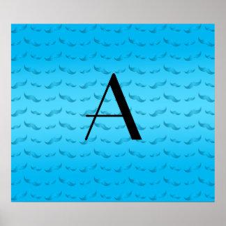 Monogram shiny sky blue mustache pattern poster